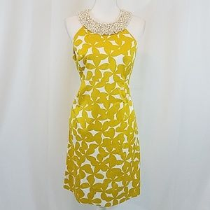INC Gold Leaf Dress w/Pearl Collar 12 Nwt
